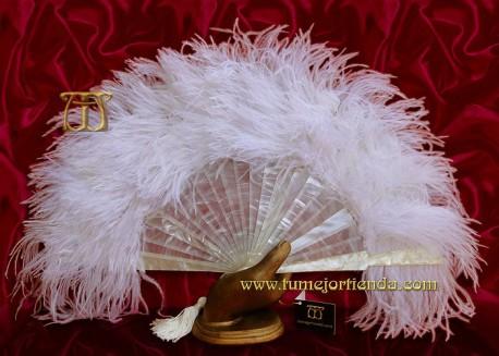 Abanico de nacarina y plumas, Mod. ADRIANA