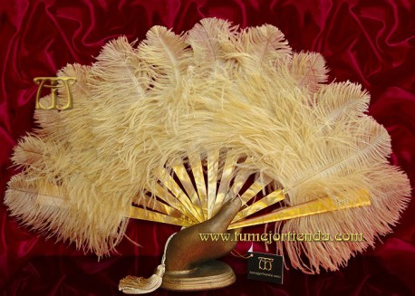 Abanico de nacarina y plumas, Mod. OPHIRA