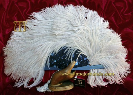 Abanico de nacarina y plumas, Mod. ZAFIRO