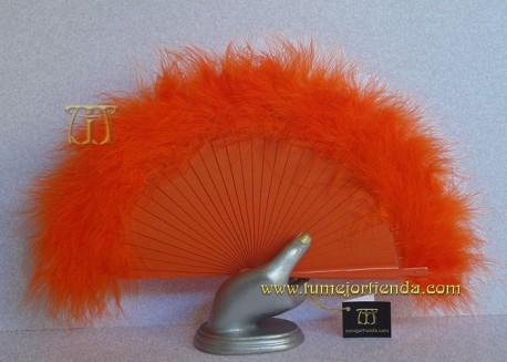 Abanico mini de plumas, Mod. NARANJA