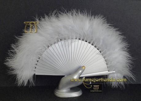 Abanico mini de plumas, Mod. GRIS