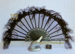 Abanico de tul y plumas, Mod. ONDINA