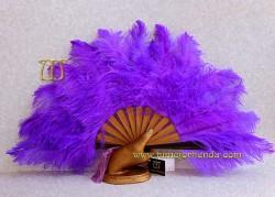 Abanico de Olivo y plumas, MOD. PURPLE