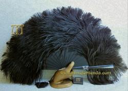 Abanico de plumas, MOD. BLACKY-OSTRICH