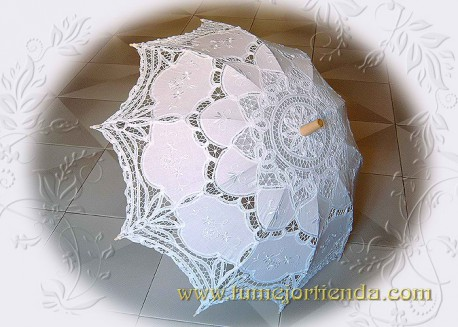 Sombrilla de  encaje Novia, COLOR BLANCO