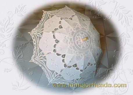 Sombrilla de  encaje Novia, COLOR MARFIL