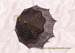 Sombrilla de encaje  brujas NEGRO-ORO, Ref. 912-Ne-Or