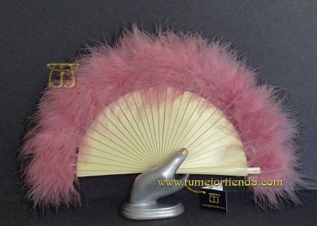 Abanico mini de plumas, Mod. ROSA PALO